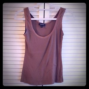 Bebe light brown/rust ribbed tanks w/satin scoop